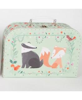 Sass & Belle Koffer Waldtiere grün Kinderkoffer