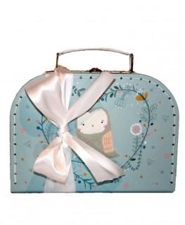 Sass & Belle Koffer Eule blau als Geschenkset