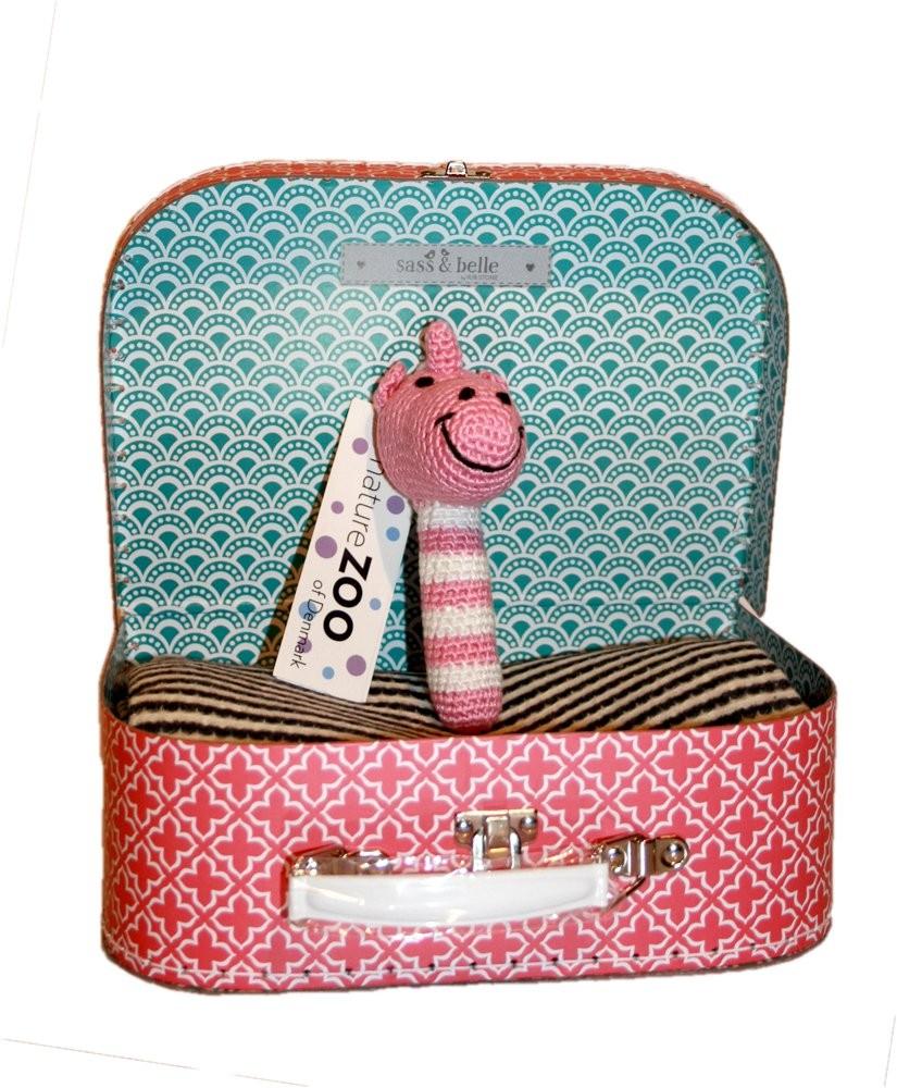 Baby Geschenk Sass Belle Koffer Fussenegger Decke Bambus Rassel