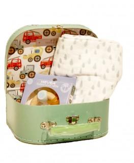 Baby Geschenk Traktor Koffer, Swaddle, Beißring