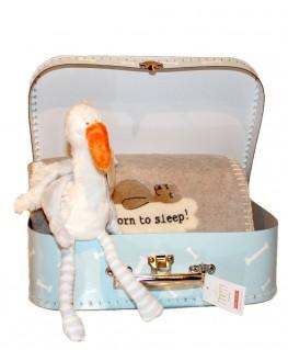 Koffer mit Kuscheldecke und kleinem Plüsch-Storch
