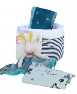 Geschenkset Fussenegger ida Decke, Moulin Roty Hase, Hust & Claire Body Pinguin
