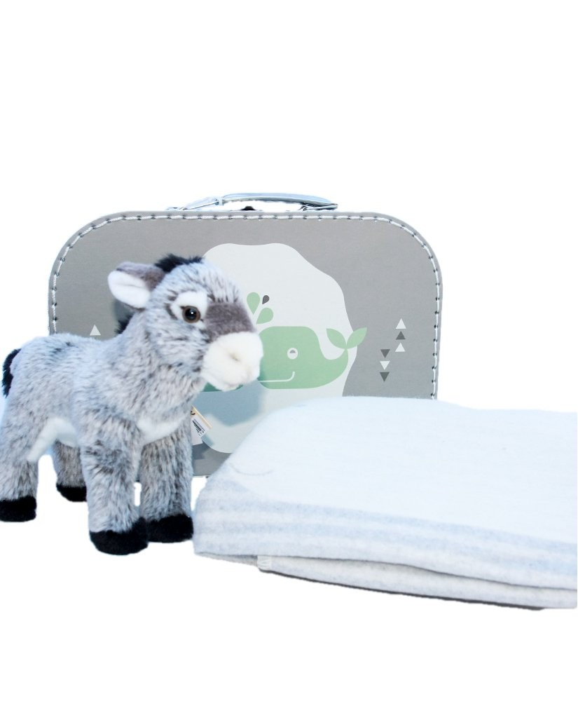 Geschenkset Esel Plüschtier, Fussenegger Decke, Babydecke Wal
