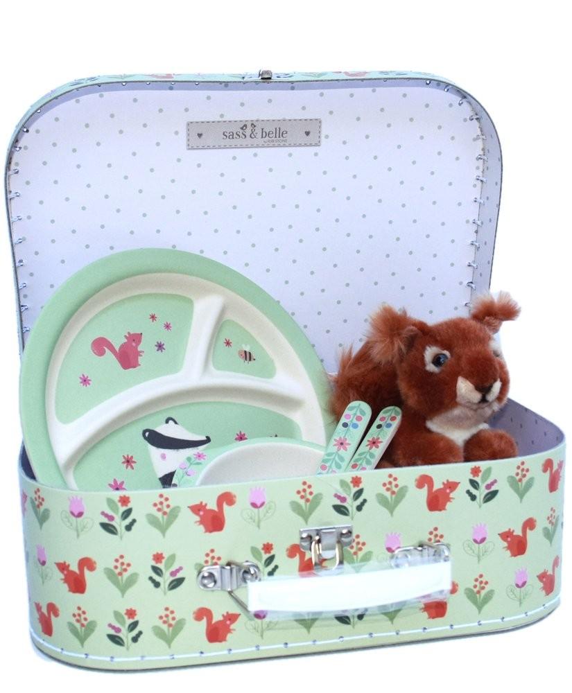Kindergeschenk Koffer Bambusgeschirr und Eichhörnchen